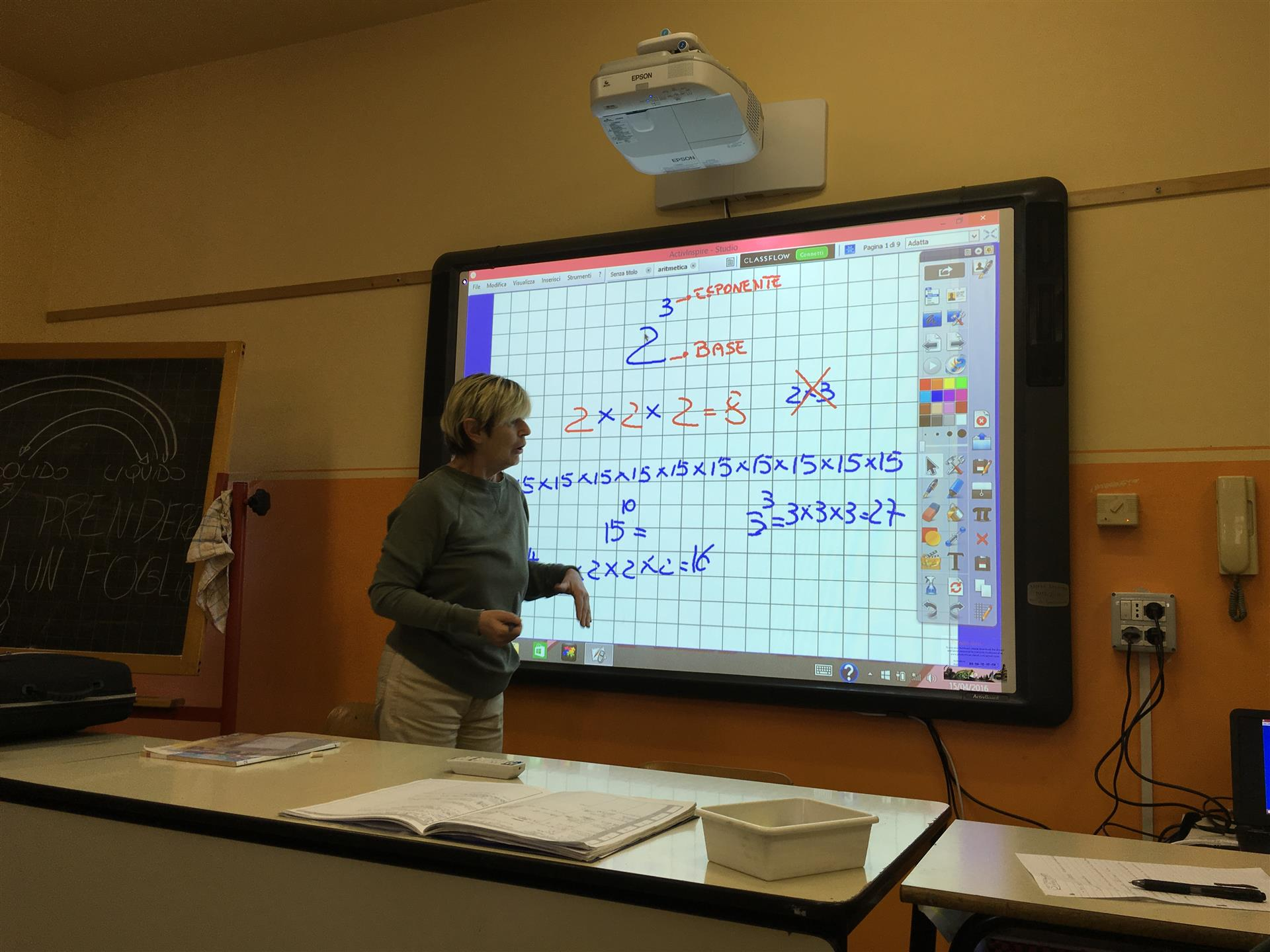 L'insegnante spiega il funzionamento della LIM